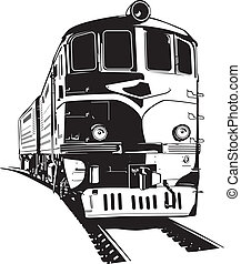 train  - vector illustration of a diesel locomotive.