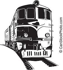 train  - vector illustration of a diesel locomotive.