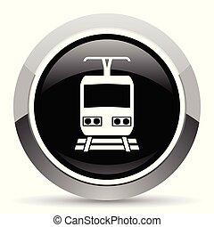 Train vector steel icon. Chrome border round web button....