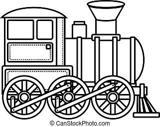 train, vendange, icon., vecteur