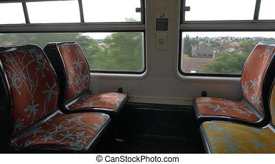 train, vide, banlieusard, sièges