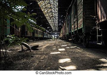 train, vieux, abandonnés, dépôt, trains