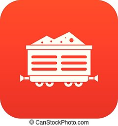 Train waggon with coal icon digital red for any design...