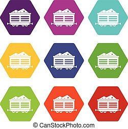 Train waggon with coal icon set color hexahedron - Train...