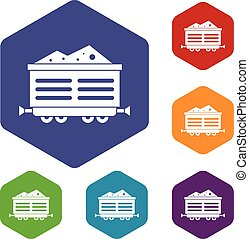 Train waggon with coal icons set rhombus in different colors...