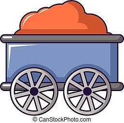 Train wagon icon, cartoon style
