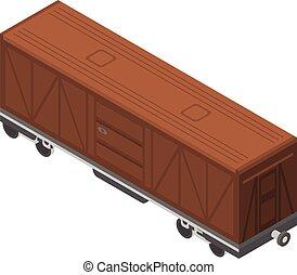 Train wagon icon, isometric style