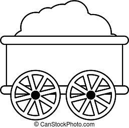 Train wagon icon , outline style