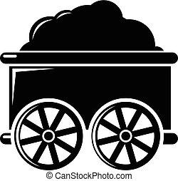 Train wagon icon , simple style
