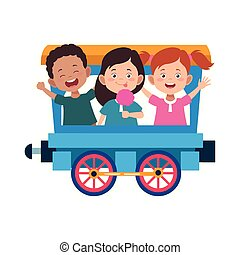 train wagon with cute happy kids, flat design