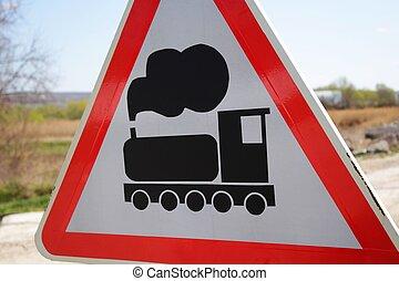 Train warning sign - A photo of Train Warning sign