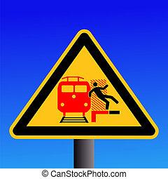 train warning sign on blue illustration