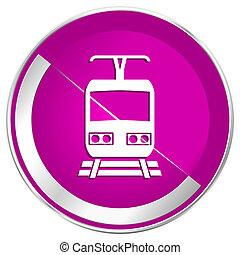 Train web design violet silver metallic border internet icon.