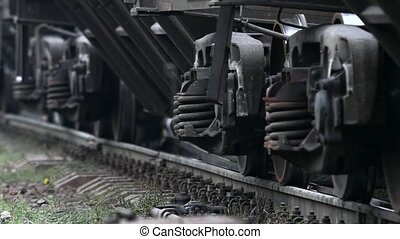 Train wheel close up on railway track. Slow motion