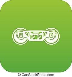Train wheels icon green vector