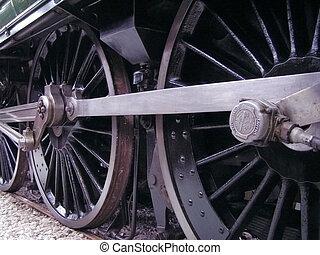 Train Wheels - Wheels on a steam train.