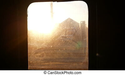 Train window landscape move - View from a train window at...