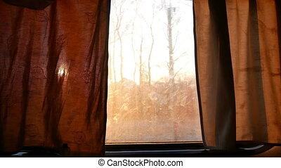 Train window landscape move