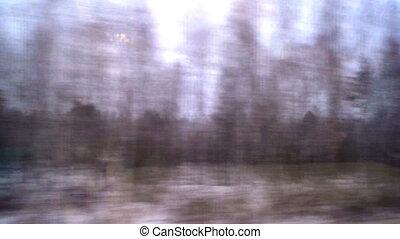 train window view snow winter forest water
