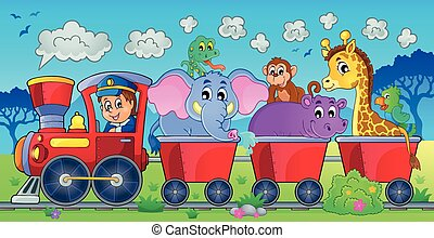 Train with animals in landscape