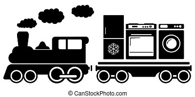 train with home appliances icon