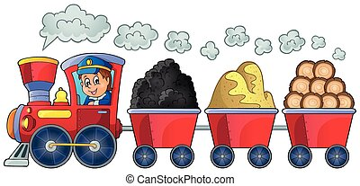 Train with various materials - eps10 vector illustration.