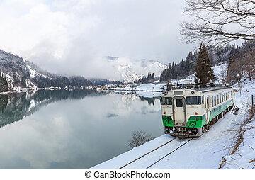 Train with Winter landscape
