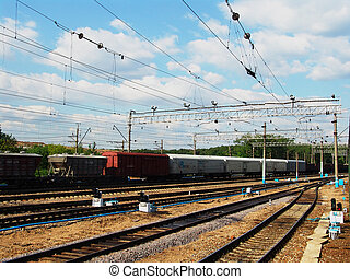 Train yard 1 - A generic train sorting yard industrial view