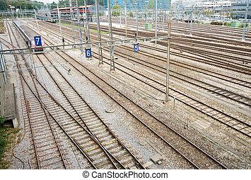 Train Yard and Tracks Geneva Switzerland Wide Angle Lens -...
