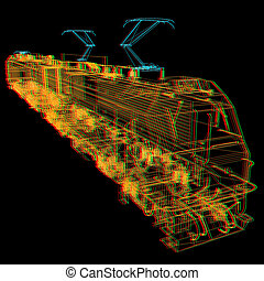 train.3D illustration. Anaglyph. View with red/cyan glasses to see in 3D.