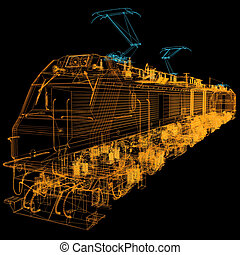 train.3D illustration
