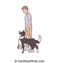 Trained dog walks next to owner, sketch cartoon vector illustration isolated.