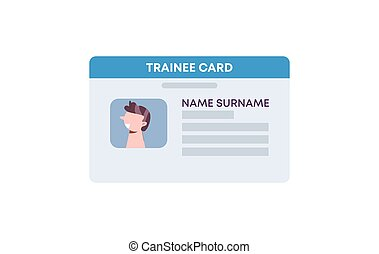 Trainee id card template. Identification card athlete and subscribes to fitness room plastic data badge.