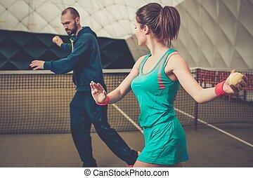 trainer, üben, sie, tennisspieler, frau, gericht