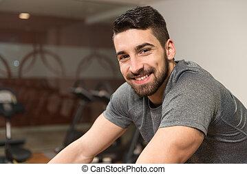 trainer, cycling, jonge, fiets, bodybuilding, man