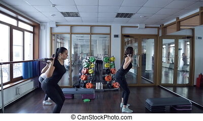 Trainer do exercises with barbell with her group of women in studio.