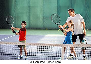 trainer, erklären, spielen, tennis, wie, kinder