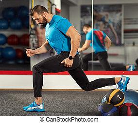 trainer, evenwicht, werkende , bal