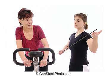 Trainer forcing to exercise - Trainer forcing senior woman...
