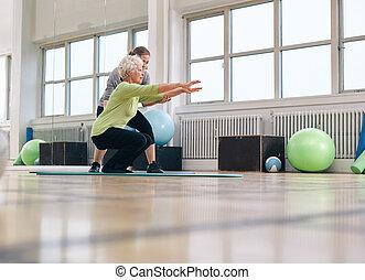 trainer, frau, sie, persönlich, älter, übung