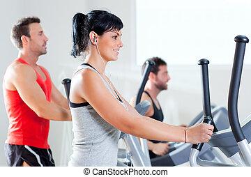 trainer, frau, turnhalle, kreuz, elliptisch, mann