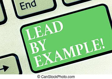 trainer, geven, foto, computer, voorbeelden, toetsenbord, volgen, boodschap, lood, intention, scheppen, schrijvende , example., conceptueel, leider, zijn, zakelijk, regels, het tonen, hand, klee, idea., mentor, showcasing
