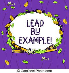 trainer, geven, kleurenfoto, krans, cinnamon., voorbeelden, volgen, anders, lood, schrijvende , regels, conceptueel, leider, zijn, zakelijk, example., het tonen, hand maakte, bladeren, zaden, mentor, showcasing