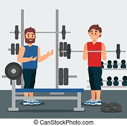 Trainer holds training session with young man. Guy doing exercise with barbell. Gym equipment on background. Flat vector design