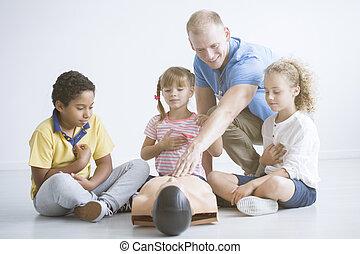 trainer, hulp, eerst, reanimation, het voorstellen