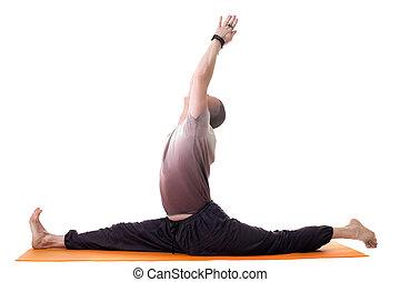 trainer, joga, posierend, split, seitenansicht
