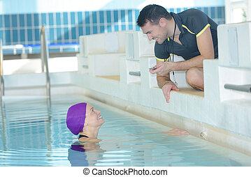 trainer, klesten, cronometre, swimer