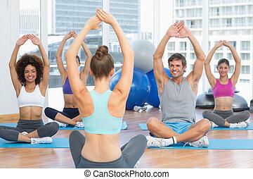 trainer, oefeningen,  Gym,  Stretching, Mensen