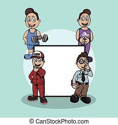 trainer, ontwerp, illustratie, meldingsbord