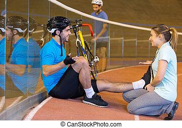 trainer, opleiding, fietser, velodrome, mannelijke